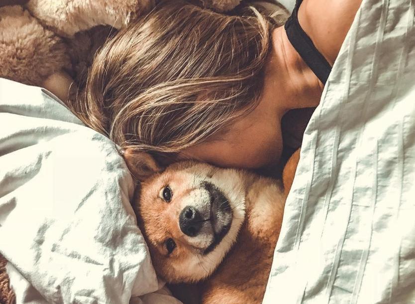 hug with dog